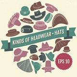 Kinds of headwear. Hats. Eps 10