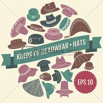 Kinds of headwear. Hats. Eps 10