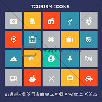 Tourism icon set. Multicolored square flat buttons