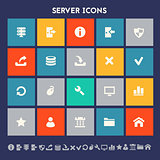 Server icon set. Multicolored square flat buttons