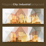 Blurred Polygonal Header Slider Webdesign Kit with City Skyline
