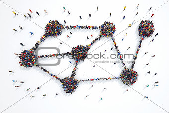3D rendering of people interconnection