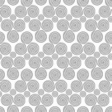 Seamless pattern with triple spiral shapes and circles