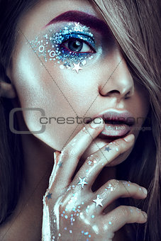 Art make up.Woman portrait with creative body-art.