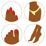 Manicure, pedicure and bodycare concept. Icon set