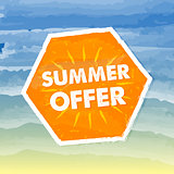 summer offer in orange label over sea background