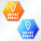 expert advice and bulb symbols, two colors hexagons web icons