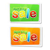 spring sale in two flat design labels