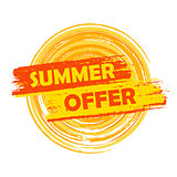 summer offer with sun sign, yellow and orange drawn label