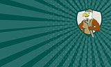 Business card American Bald Eagle Mechanic Spanner Crest Cartoon