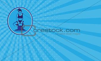 Business card Female Trainer Lifting Kettleball Circle Retro