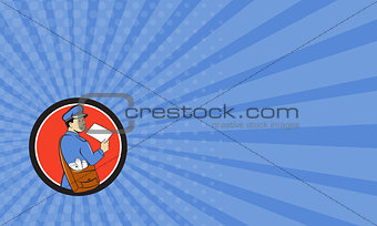Business card Mailman Deliver Letter Circle Cartoon