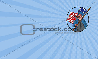 Business card American Patriot Carrying USA Flag Circle Drawing