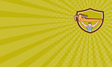 Business card Plumber Weightlifter Monkey Wrench Crest Cartoon