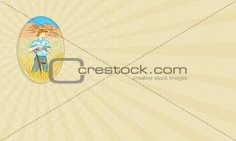 Business card Wheat Organic Farmer Scythe Oval Drawing