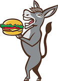 Donkey Mascot Serving Hamburger Isolated Retro