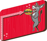 Donkey Mascot Serve Burger Rectangle Retro