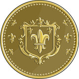 Fleur de lis Coat of Arms Gold Medal Retro