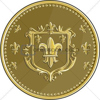 Fleur de lis Coat of Arms Gold Medal Retro