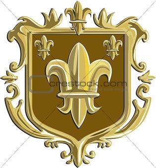 Fleur de lis Coat of Arms Gold Crest Retro