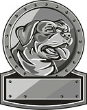 Rottweiler Guard Dog Shield Metallic Circle Retro