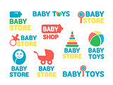 Logotypes set of baby stores.