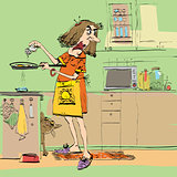 Angry woman cooking in the kitchen