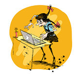 Girl and laptop vector illustration