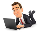 3d businessman lying on the floor and using laptop