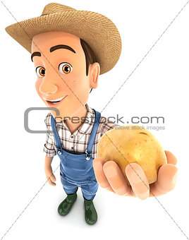 3d farmer holding a potato