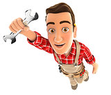 3d handyman flying and holding a wrench