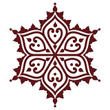 Mehndi, Indian Henna brown tattoo design - flower shape