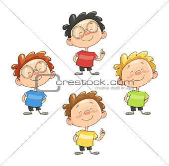 Cartoon smiling boy vector illustration eps10 isolated