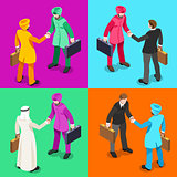 Handshake 05 Isometric People