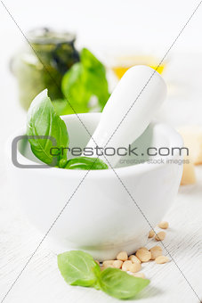 Ceramic Mortar with Pestle and pesto ingredients
