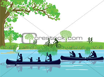 Canoeing in the leisure
