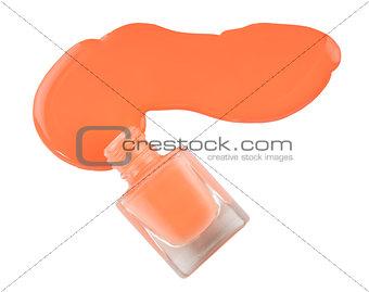 Close up of spilled pink nail polish