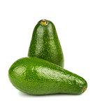 Two green ripe avocado on white background