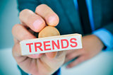 text trends in a rubber stamp