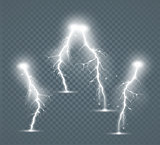 Set of the isolated realistic lightnings with transparency for design.