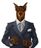 man with doberman head