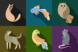 flat style animals set