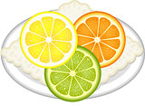 Citrus fruit slices with dish