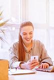 Freelancer using phone