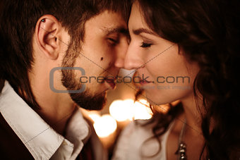 Beautiful Couple with Closed Eyes Kissing