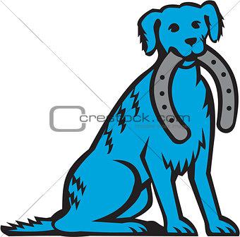 Blue Merle Dog Sitting Biting Horseshoe Retro