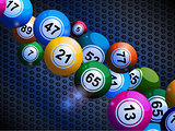 Bingo balls on honeycomb metallic background