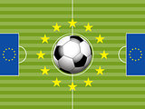 Football Soccer pitch and european flag