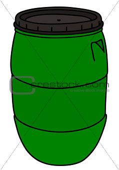Green plastic barrel