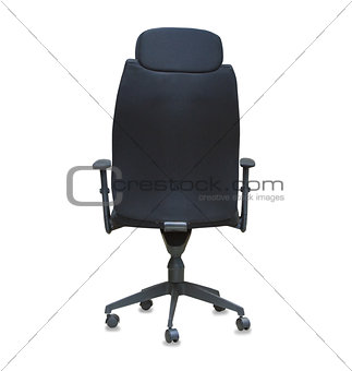 Back view of modern office chair from black cloth isolated over
